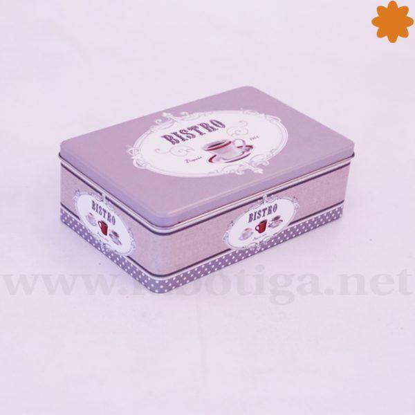 Caja metálica rectangular vintage de tonos grises