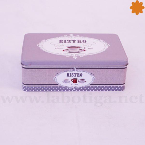 Caja metálica rectangular vintage grise