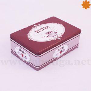 Caja metal rectangular etiquetas vintage de color marrón en venta