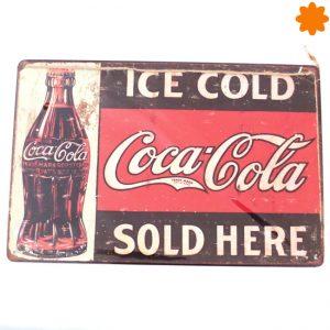 Chapa de publicidad de estilo retro Ice cold beer sold here