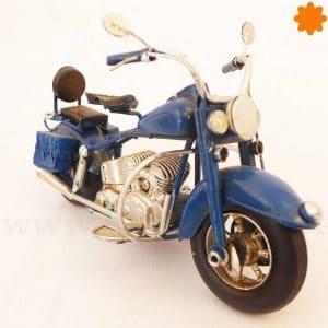 Figura de metal Motocicleta chopper Harley Davidson Azul