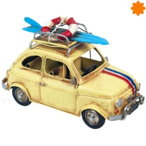 Figura de metal coche surfero VW Beetle con tabla de surf