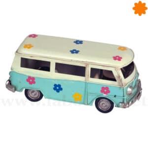 Figura de metal furgoneta VW california azul con flores