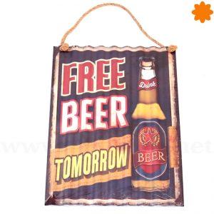 Free beer Ice cold best in town Placa decorativa estilo vintage