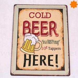 Ice cold beer sold here Placade metalpara decorar estilo vintage