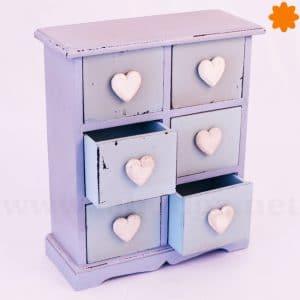 Mueble auxiliar corazones cajonera de madera para complementos