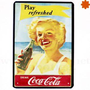 Placa metálica retro Coca Cola