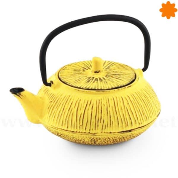 Tetera de hierro fundido estilo oriental naranja