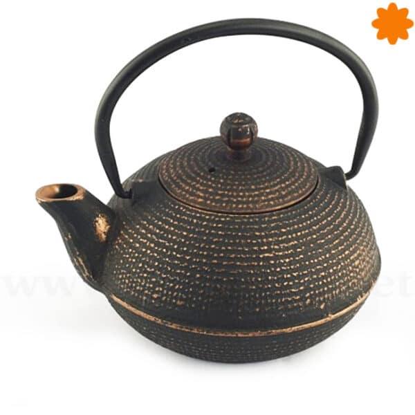 Tetera de hierro fundido redonda negra estilo oriental