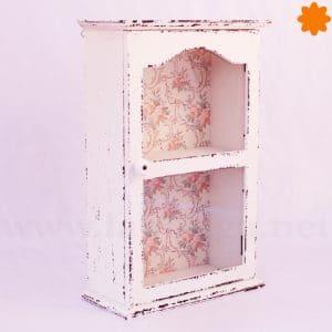Vitrina de madera y vidrio con estanterías vintage