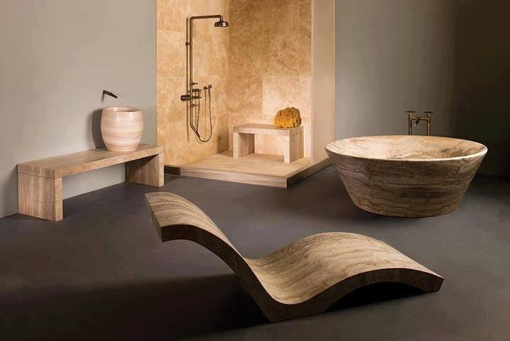 Idea para decorar un baño de piedra