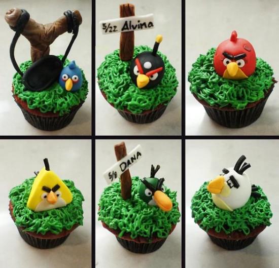 coleccion de cupcakes con los Angry Birds