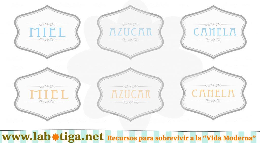 Etiquetas vintage editables tarros cristal