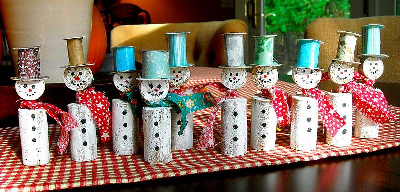 tapones de corcho de botellas de vino muñecos nieve