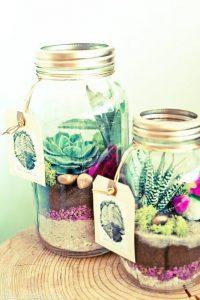 ideas para decorar tarrros y botes de cristal