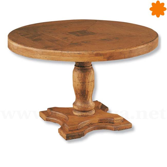 Mesa redonda de madera, para comedor de 1m de diámetro.