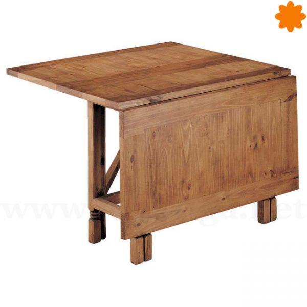 Mesa rústica de madera plegable y extensible rectangular 115x78x38