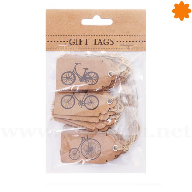 15 etiquetas de regalo modernas con dibujos de bicicletas