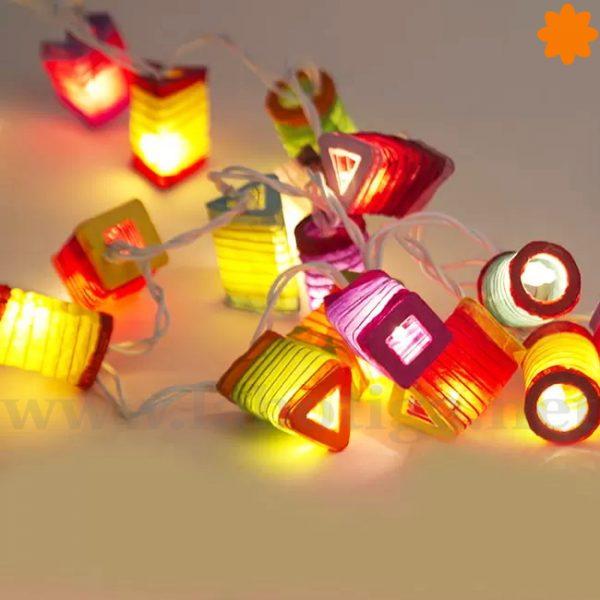 Festiva guirnalda de 20 farolillos de colores de estilo verbena