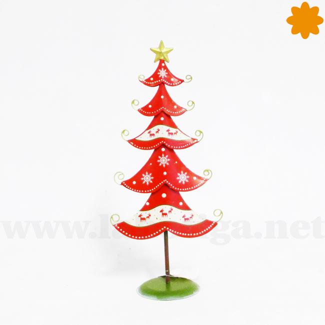 Árbol de navidad adorno navideño de color rojo de metal