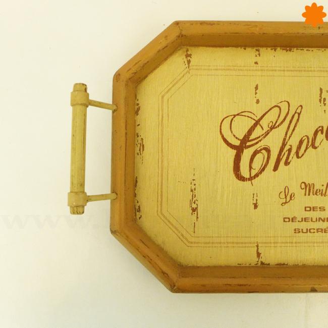Bandeja de madera de estilo retro Chocolat