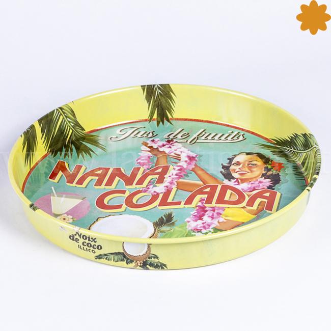 Bandeja metálica Nana Colada estilo hawaii