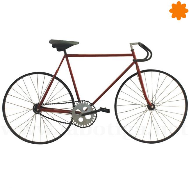 Bicicleta Fixie de color rojo y negro para decorar en la pared