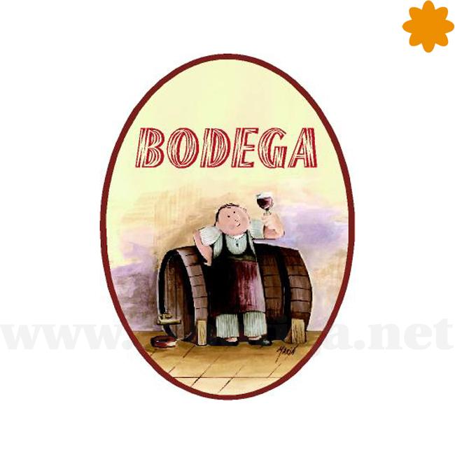 Bodega con bota de vino rótulo informativo de madera