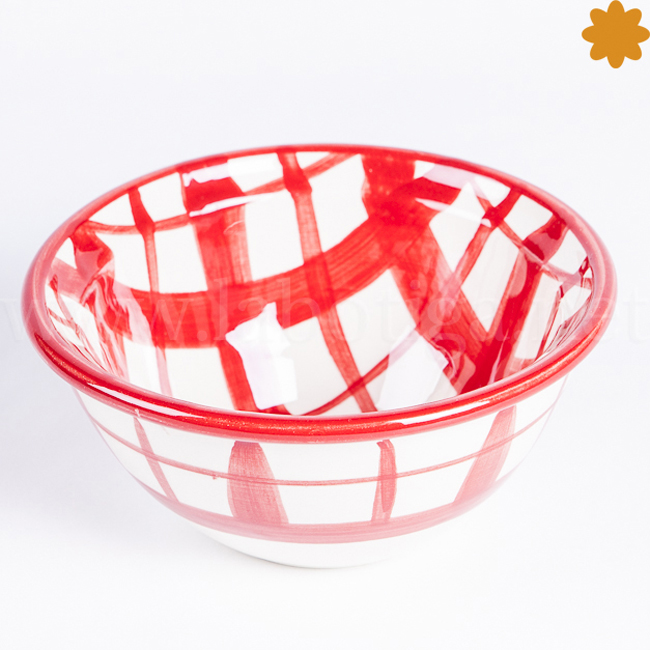 Bol cerámica polivalente decorado con rayas rojas