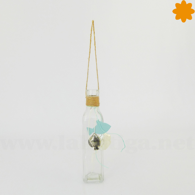 Botella de cristal estilo marino para colgar