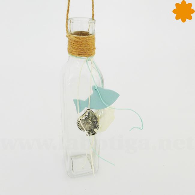 Botella al mar con adornos de estilo marino para colgar