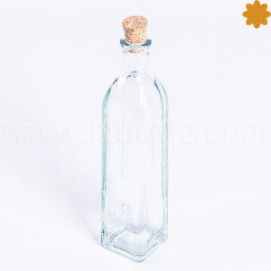botella de cristal peque a rectangular alargada con tap n de corcho