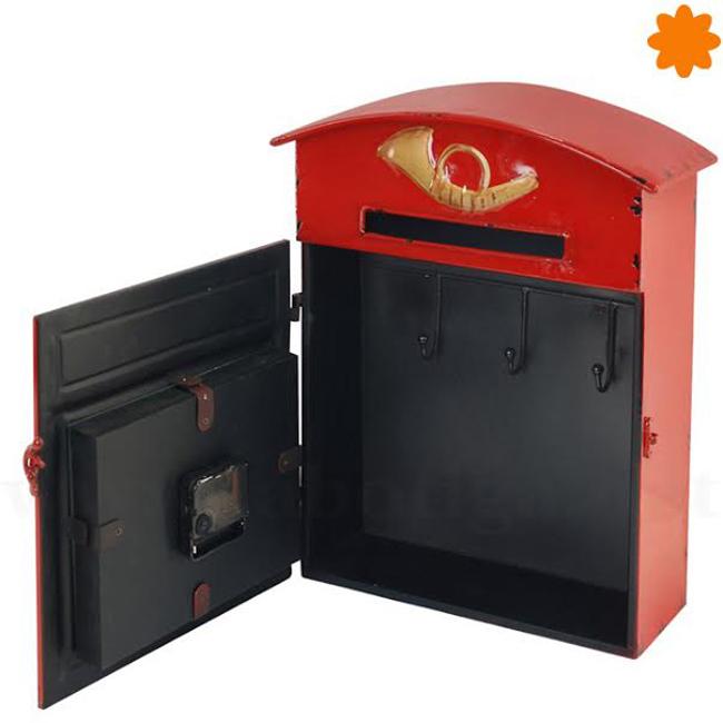 Buzón de llaves con reloj de color rojo de estilo retro
