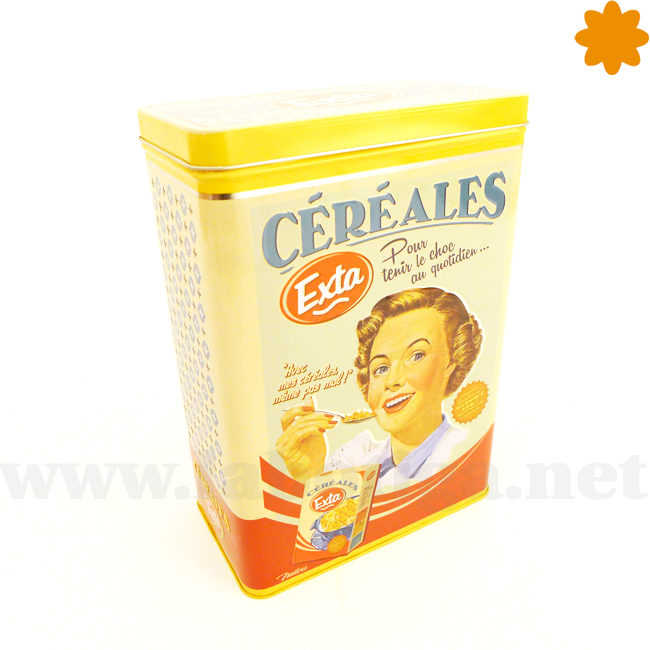 Caja para guardar cereales amarilla y azul con publicidad retro