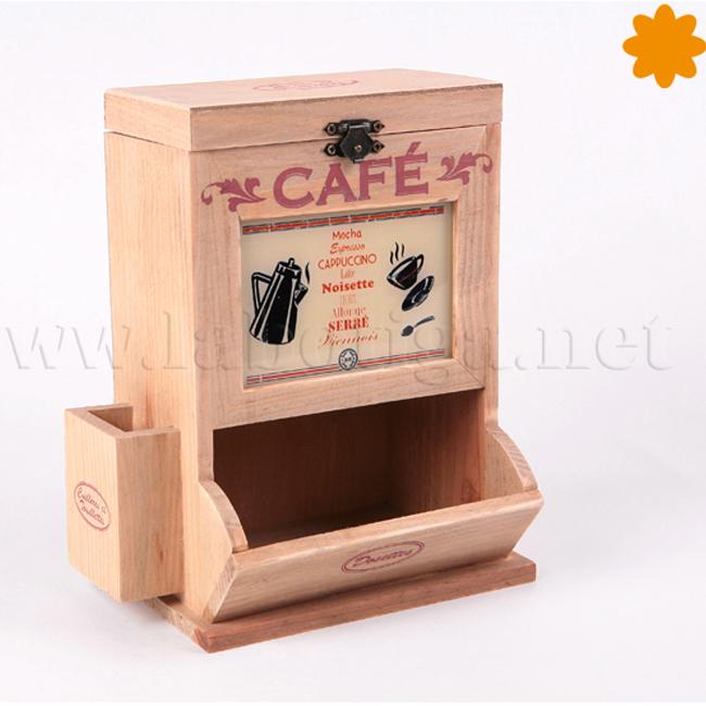 caja de madera para guardar café