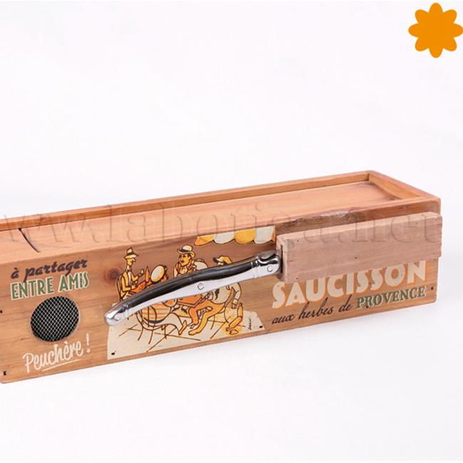 Caja de madera para cortar y guardar embutidos soucissone