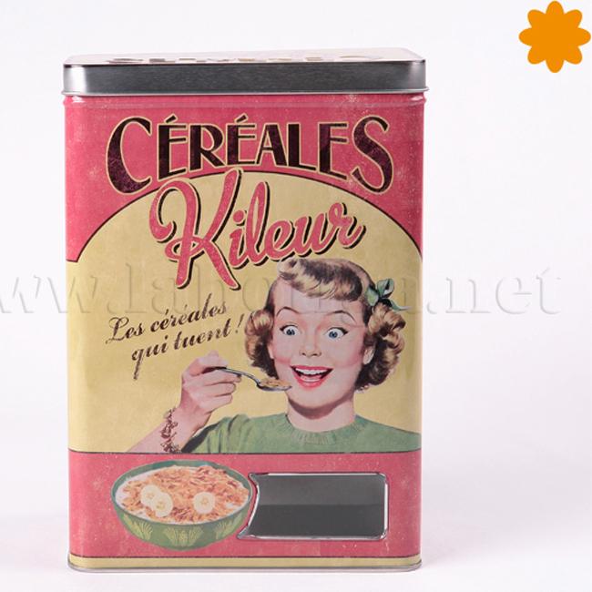 caja de metal vintage para almacenar cereales