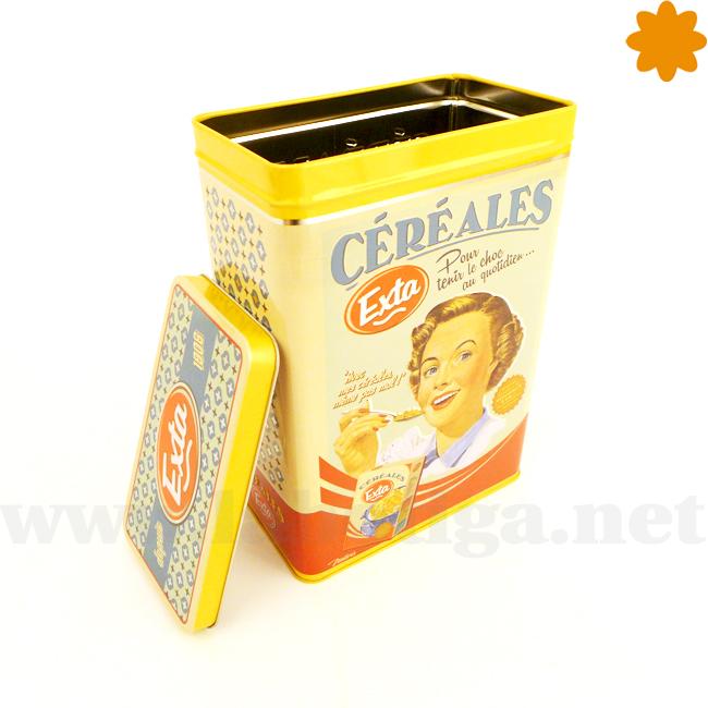 caja de metal para cereales