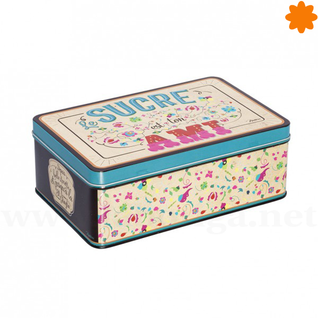 Caja rectangular de metal Le Sucre est ton Ami