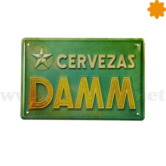 Placa publicitaria de la cerveza Estrella Damm. Cartel veraniego