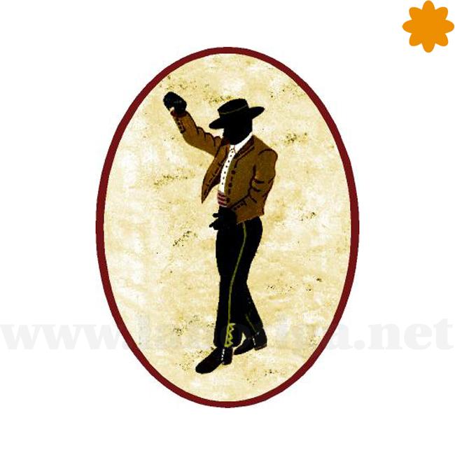 Cartel baño de caballeros con el dibujo de un torero