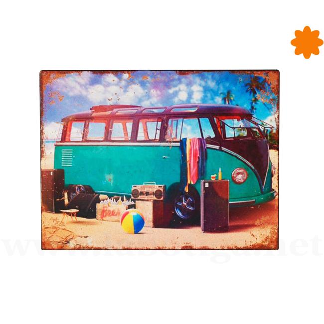 Cartel volkswagen hippie preparados listos para ir a la playa
