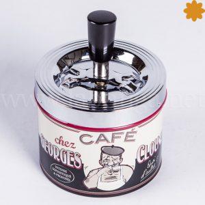 Cenicero de metal para mesa_temática cafe george clounet