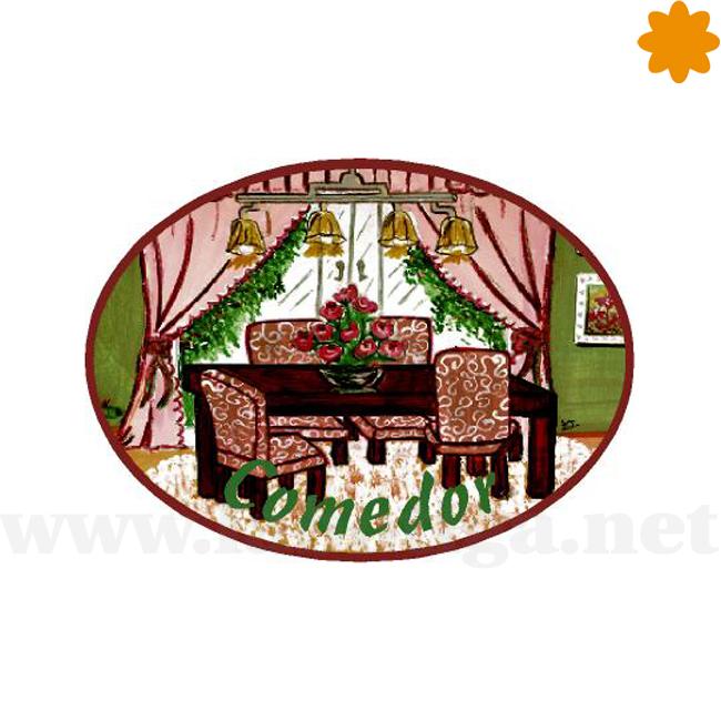 Comedor rosa y verde placa decorativa para la puerta