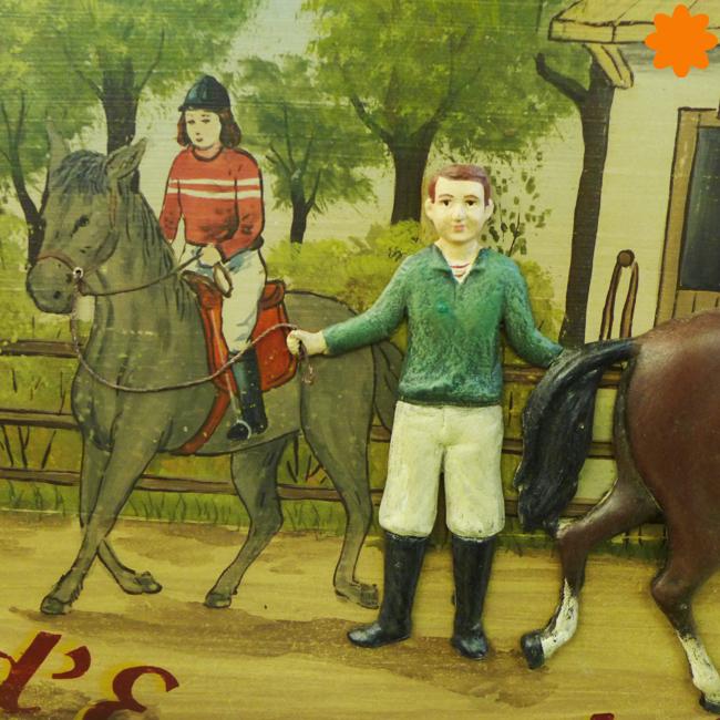 Gran cuadro de madera dedicado a la hípica y equitación