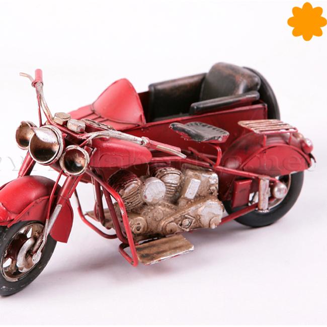 Figura de metal motocicleta sidecar roja