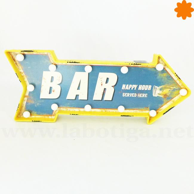 flecha con luces de color azul y amarillo para un bar