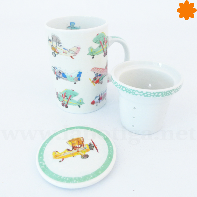 Infusionador de porcelana para el té con divertidos dibujos