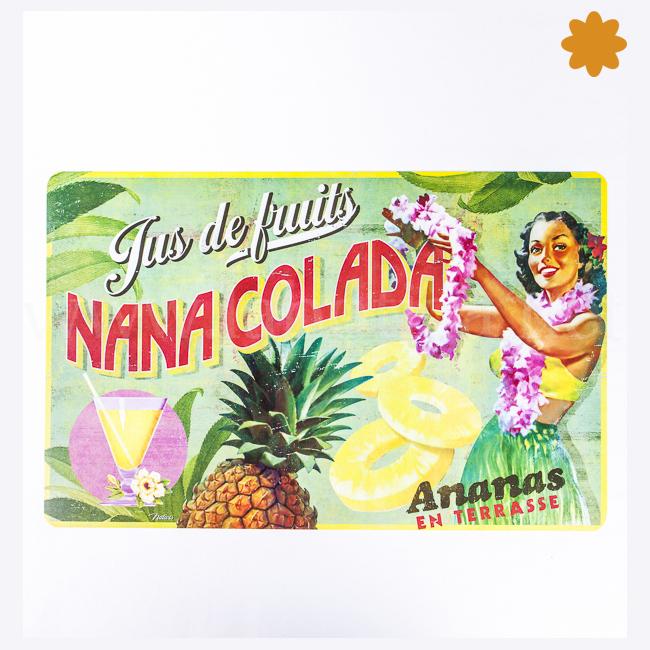 Manteles Individual Nana Colada Ananas en Terrasse Verde con Piña