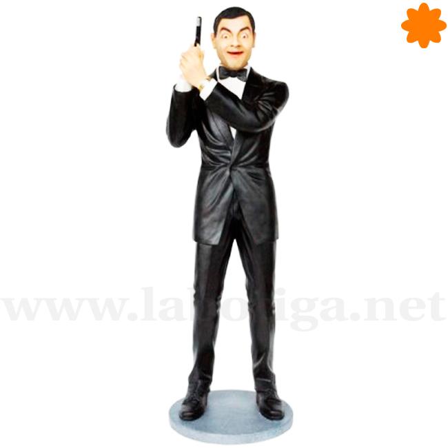 Figura de mr bean de agente secreto con esmoquin negro